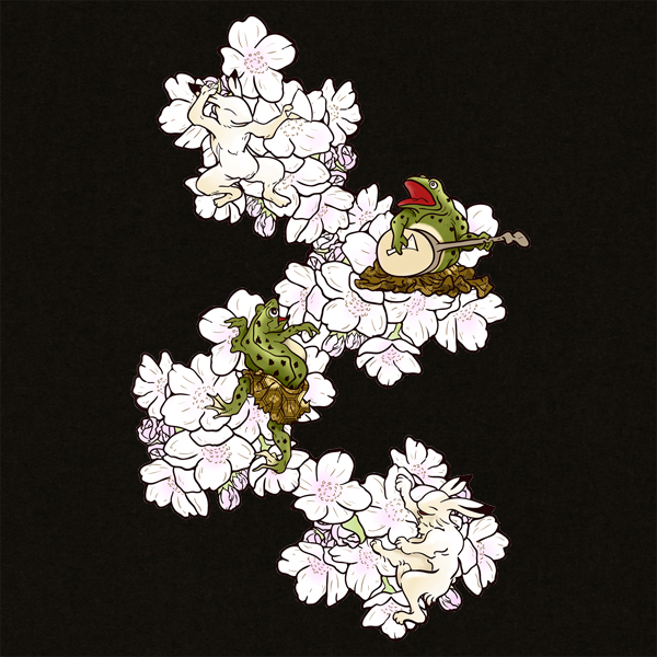 和柄,和柄服,むかしむかし,大きいサイズ,Tシャツ,キッズ,半袖,鳥獣戯画_桜酒宴