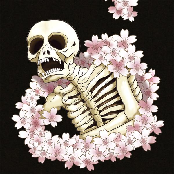 和柄,和柄服,むかしむかし,大きいサイズ,Tシャツ,メンズ,長袖,桜がしゃ髑髏
