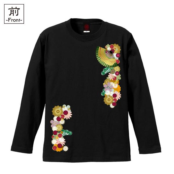 和柄,和柄服,むかしむかし,大きいサイズ,Tシャツ,レディース,長袖,和花扇紋様