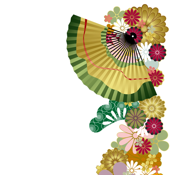 和柄,和柄服,むかしむかし,大きいサイズ,Tシャツ,キッズ,半袖,和花扇紋様