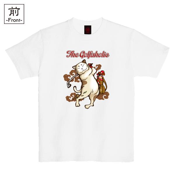 和柄,和柄服,むかしむかし,大きいサイズ,Tシャツ,キッズ,半袖,ゴルフ猫