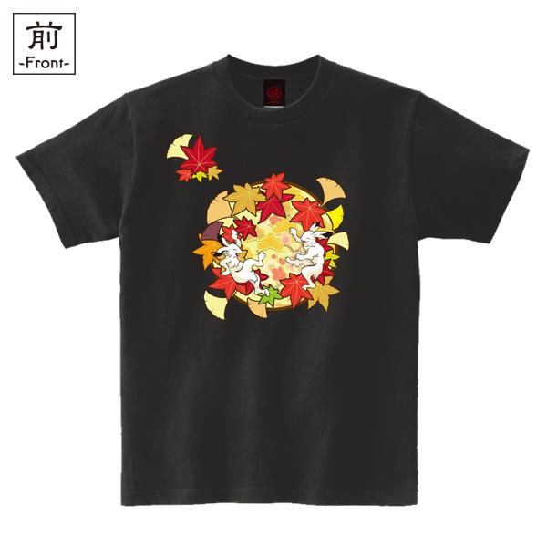 和柄,和柄服,むかしむかし,大きいサイズ,Tシャツ,メンズ,半袖,鳥獣戯画_紅葉遊戯