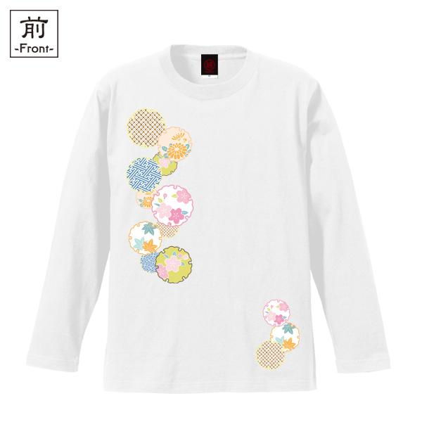 和柄,和柄服,むかしむかし,大きいサイズ,Tシャツ,キッズ,長袖,花雪輪紋様