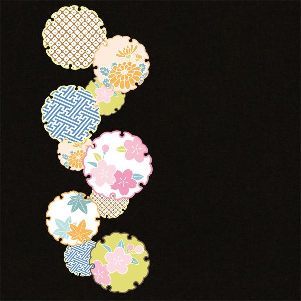 和柄,和柄服,むかしむかし,大きいサイズ,Tシャツ,キッズ,半袖,花雪輪紋様