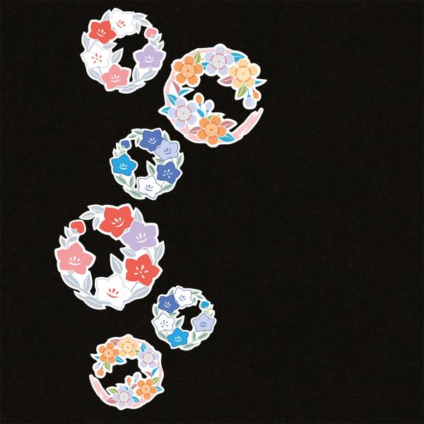 和柄,和柄服,むかしむかし,大きいサイズ,Tシャツ,レディース,長袖,小花丸紋様