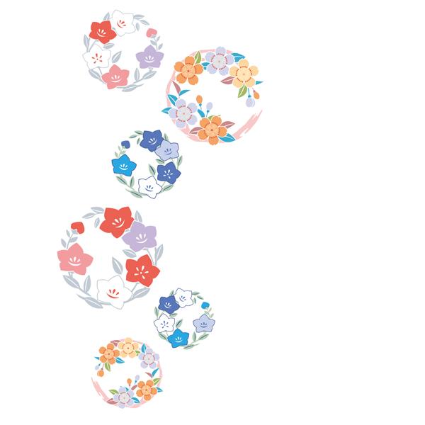 和柄,和柄服,むかしむかし,大きいサイズ,Tシャツ,キッズ,半袖,小花丸紋様
