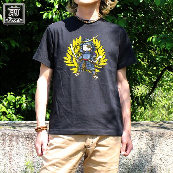 和柄,和柄服,むかしむかし,大きいサイズ,Tシャツ,キッズ,半袖,猫武将_政宗