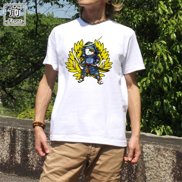 和柄,和柄服,むかしむかし,大きいサイズ,Tシャツ,メンズ,半袖,猫武将_政宗