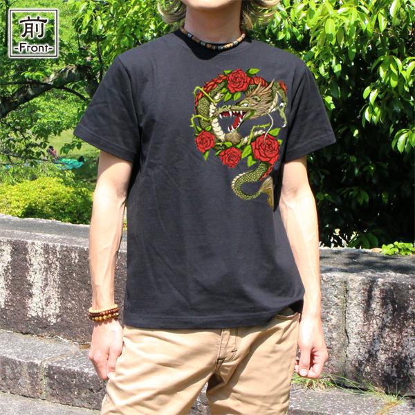 和柄,和柄服,むかしむかし,大きいサイズ,Tシャツ,メンズ,半袖,薔薇昇龍