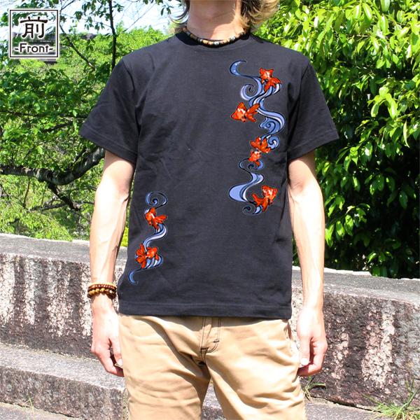 和柄,和柄服,むかしむかし,大きいサイズ,Tシャツ,レディース,半袖,流水金魚