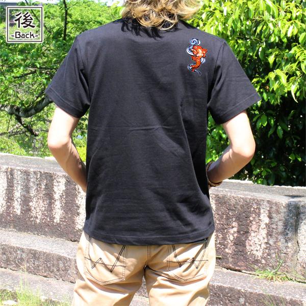和柄,和柄服,むかしむかし,大きいサイズ,Tシャツ,メンズ,半袖,流水金魚