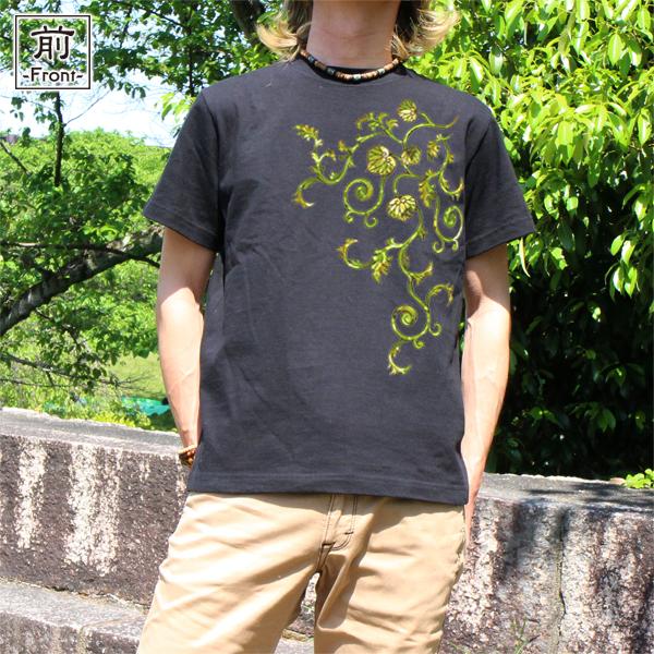 和柄,和柄服,むかしむかし,大きいサイズ,Tシャツ,メンズ,半袖,葵唐草