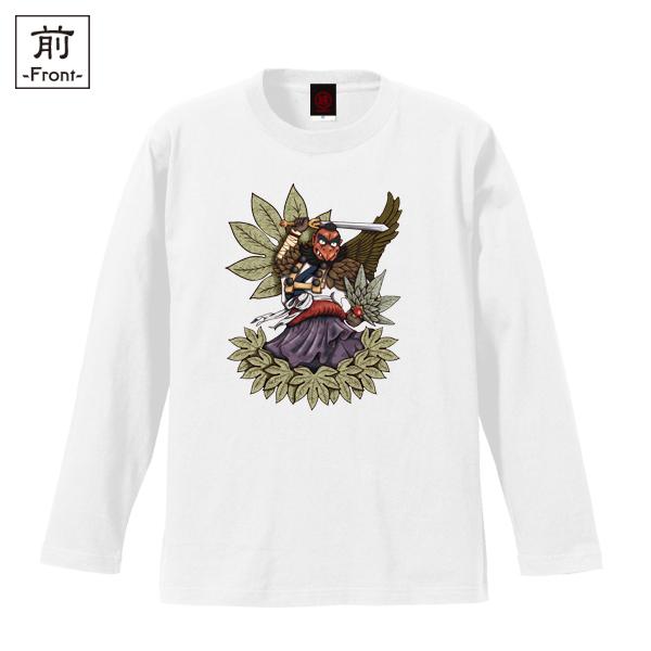 和柄,和柄服,むかしむかし,大きいサイズ,Tシャツ,メンズ,長袖,烏天狗
