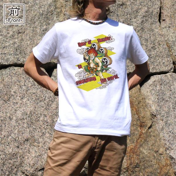 和柄,和柄服,むかしむかし,大きいサイズ,Tシャツ,キッズ,半袖,激雷神