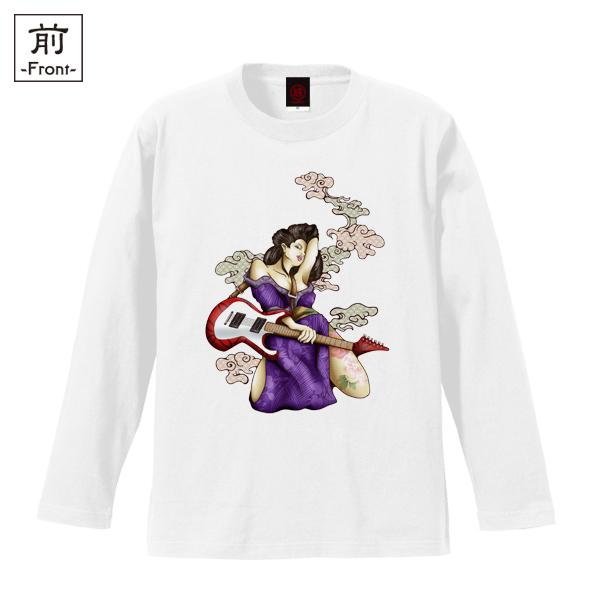 和柄,和柄服,むかしむかし,大きいサイズ,Tシャツ,キッズ,長袖,ギター芸者