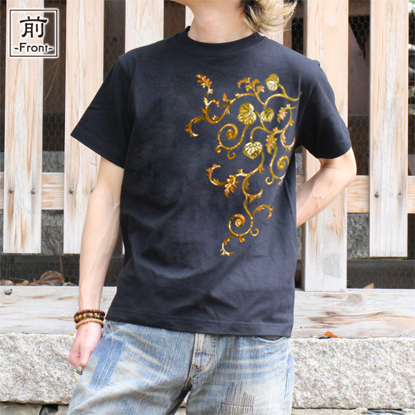 和柄,和柄服,むかしむかし,大きいサイズ,Tシャツ,レディース,半袖,葵唐草(茶)