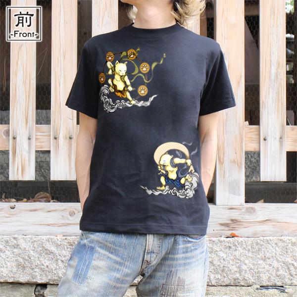 和柄,和柄服,むかしむかし,大きいサイズ,Tシャツ,キッズ,半袖,猫風雷神