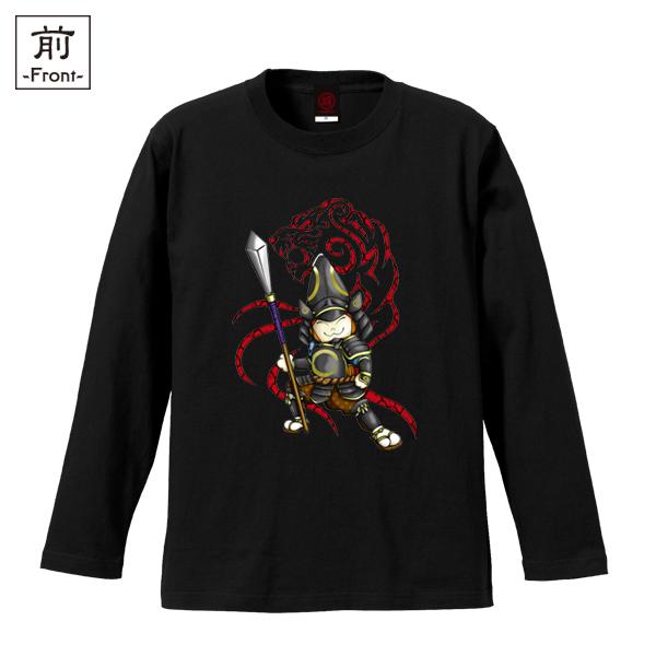 和柄,和柄服,むかしむかし,大きいサイズ,Tシャツ,キッズ,長袖,猫武将清正