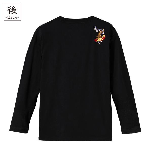 和柄,和柄服,むかしむかし,大きいサイズ,Tシャツ,キッズ,長袖,鳥獣戯画_波乗猿
