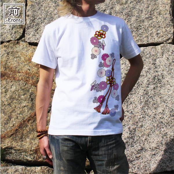 和柄,和柄服,むかしむかし,大きいサイズ,Tシャツ,レディース,半袖,菊花組紐飾
