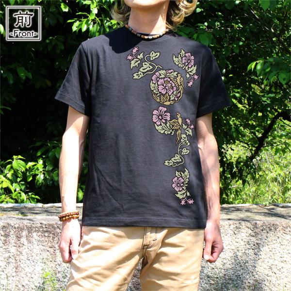 和柄,和柄服,むかしむかし,大きいサイズ,Tシャツ,キッズ,半袖,蛮絵花鳥紋様