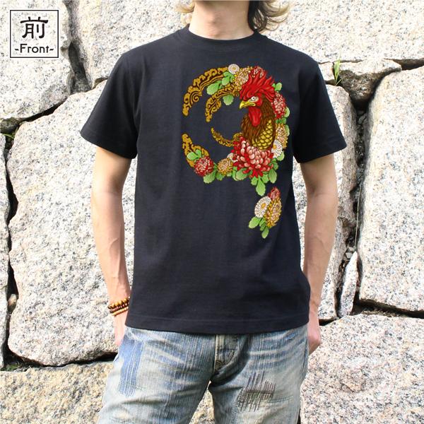 和柄,和柄服,むかしむかし,大きいサイズ,Tシャツ,キッズ,半袖,乱菊鶏紋