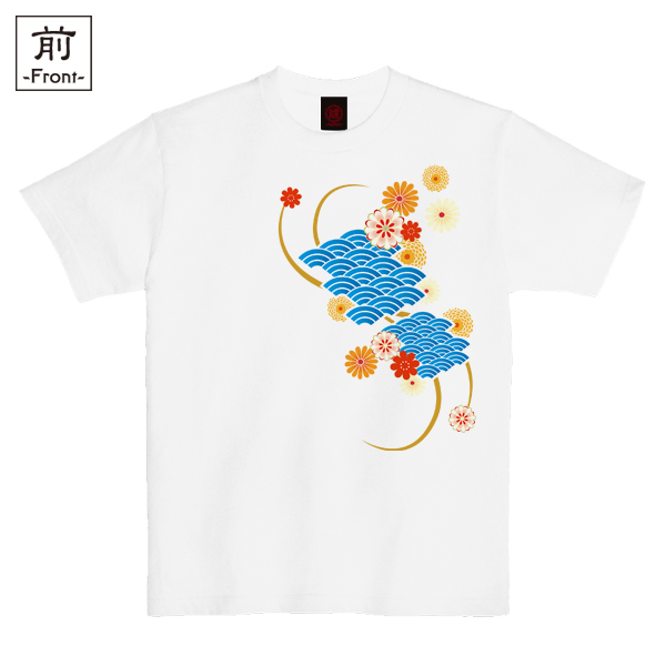 和柄,和柄服,むかしむかし,大きいサイズ,Tシャツ,キッズ,半袖,波扇花紋様