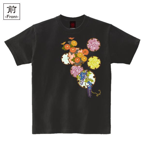 和柄,和柄服,むかしむかし,大きいサイズ,Tシャツ,キッズ,半袖,雪輪季節花紋