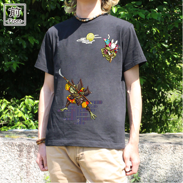 和柄,和柄服,むかしむかし,大きいサイズ,Tシャツ,レディース,半袖,鳥獣戯画_弁慶と牛若