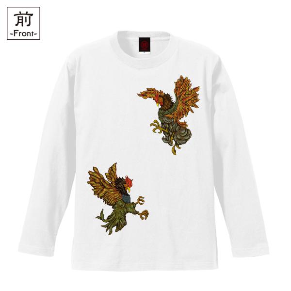 和柄,和柄服,むかしむかし,大きいサイズ,Tシャツ,メンズ,長袖,闘鷄炎舞