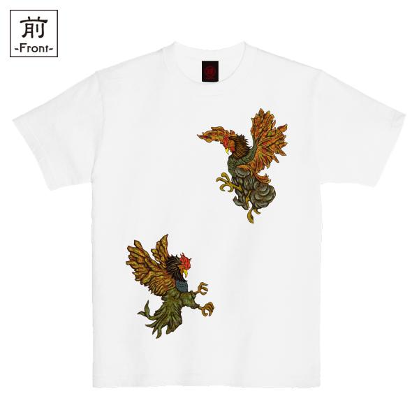 和柄,和柄服,むかしむかし,大きいサイズ,Tシャツ,メンズ,半袖,闘鷄炎舞