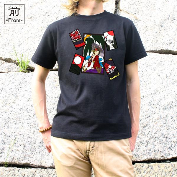 和柄,和柄服,むかしむかし,大きいサイズ,Tシャツ,キッズ,半袖,花札芸者_五光