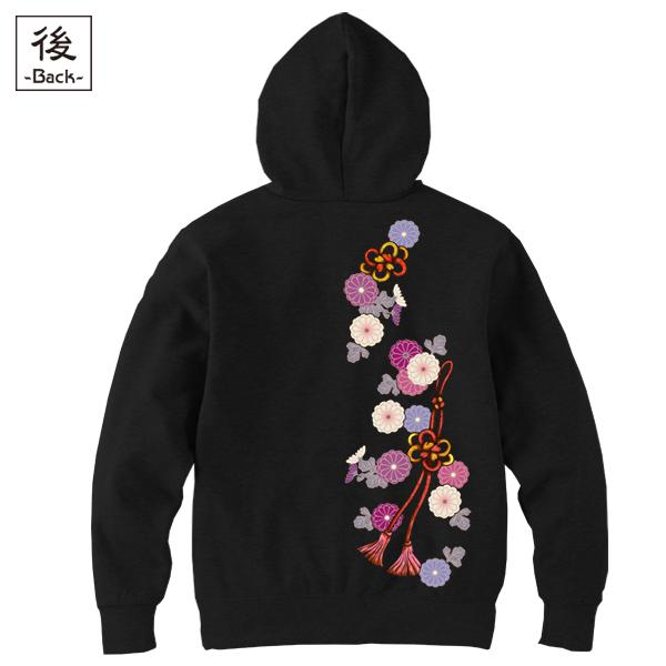 和柄,和柄服,むかしむかし,大きいサイズ,パーカー,プルパーカー,レディース,菊花組紐飾