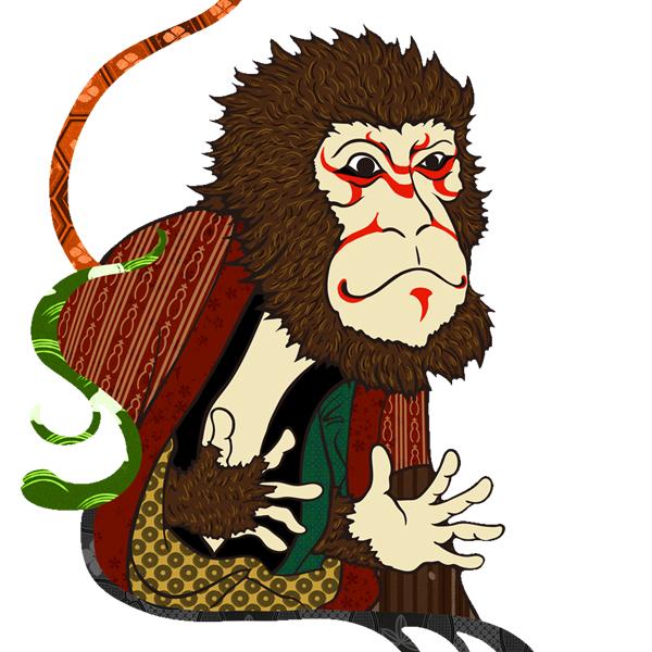 和柄,和柄服,むかしむかし,大きいサイズ,パーカー,プルパーカー,レディース,猿歌舞伎