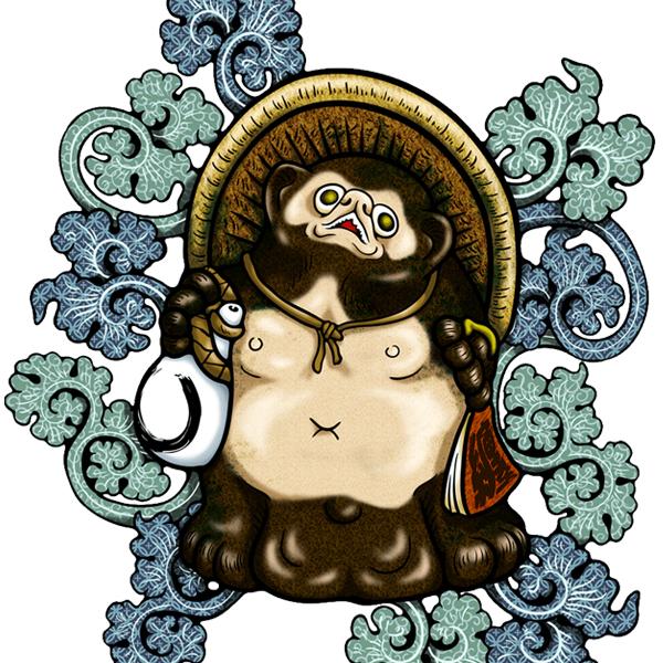 和柄,和柄服,むかしむかし,大きいサイズ,パーカー,プルパーカー,レディース,吉祥葵狸