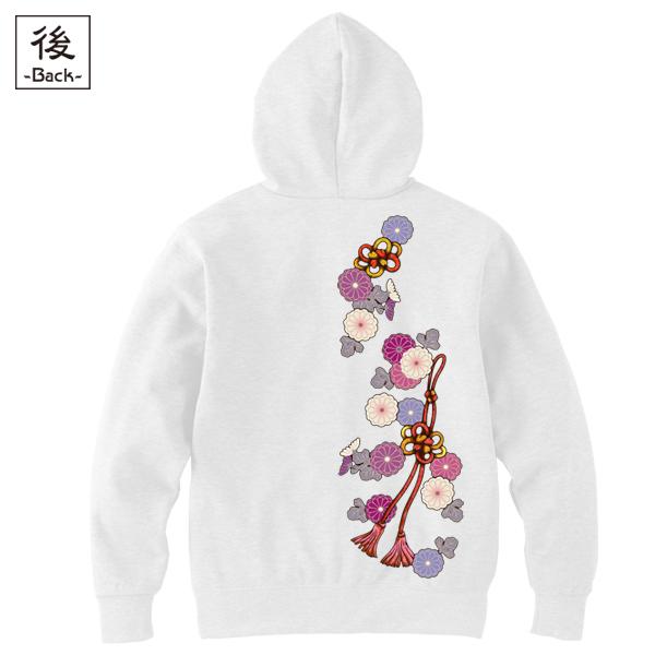 和柄,和柄服,むかしむかし,大きいサイズ,パーカー,ジップパーカー,メンズ,菊花組紐飾