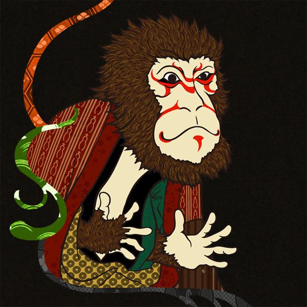 和柄,和柄服,むかしむかし,大きいサイズ,パーカー,ジップパーカー,メンズ,猿歌舞伎