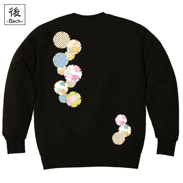 和柄,和柄服,むかしむかし,大きいサイズ,スウェット,トレーナー,メンズ,花雪輪紋様