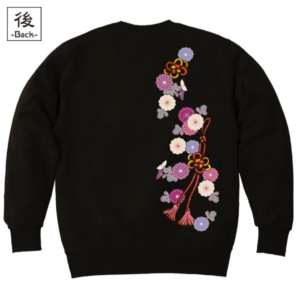 和柄,和柄服,むかしむかし,大きいサイズ,スウェット,トレーナー,レディース,菊花組紐飾