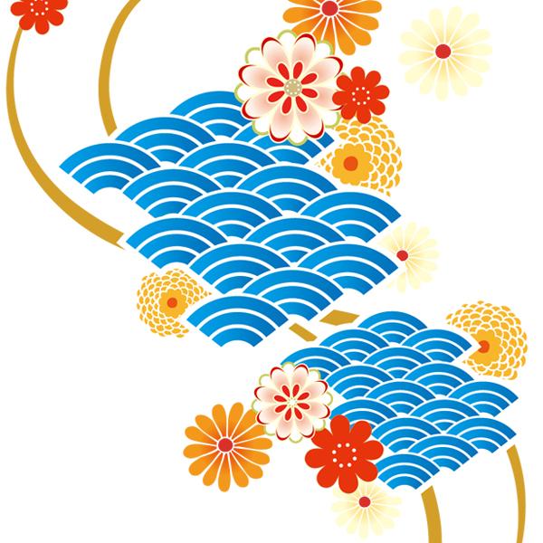 和柄,和柄服,むかしむかし,大きいサイズ,スウェット,トレーナー,キッズ,波扇花紋様